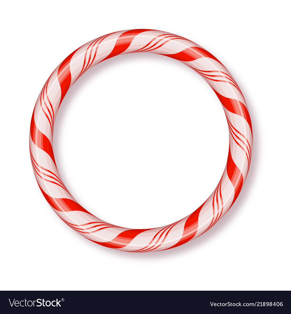 Christmas candy frame round isolated blank