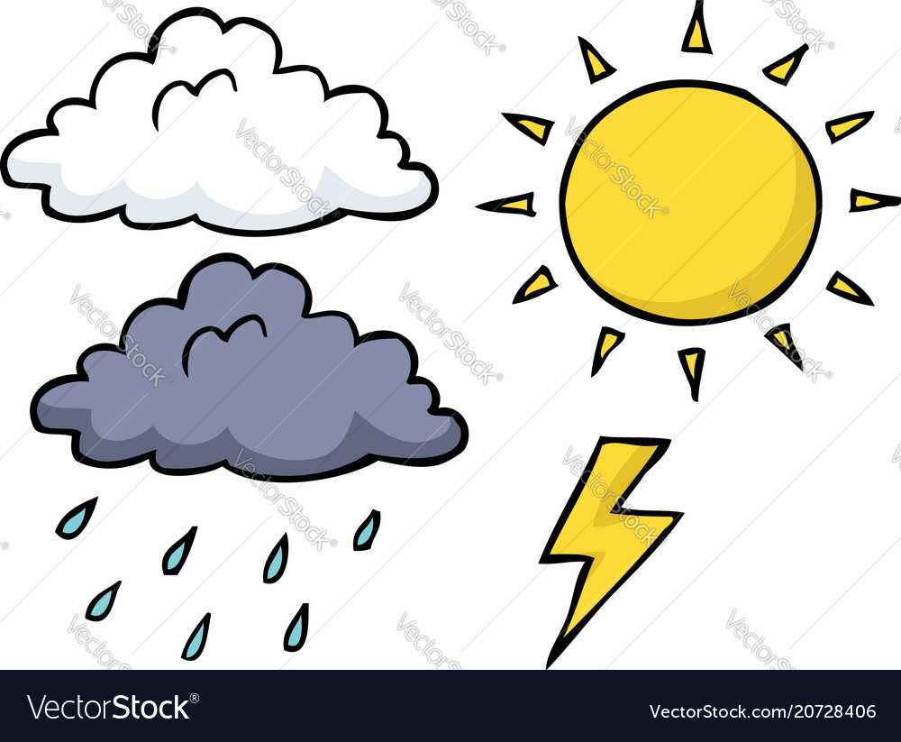 Doodle weather icon set