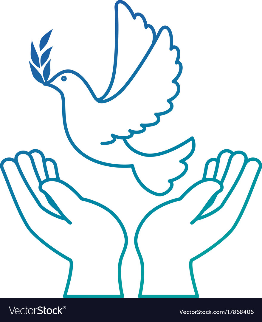 Hands Human With Dove Of Peace Royalty Free Vector Image