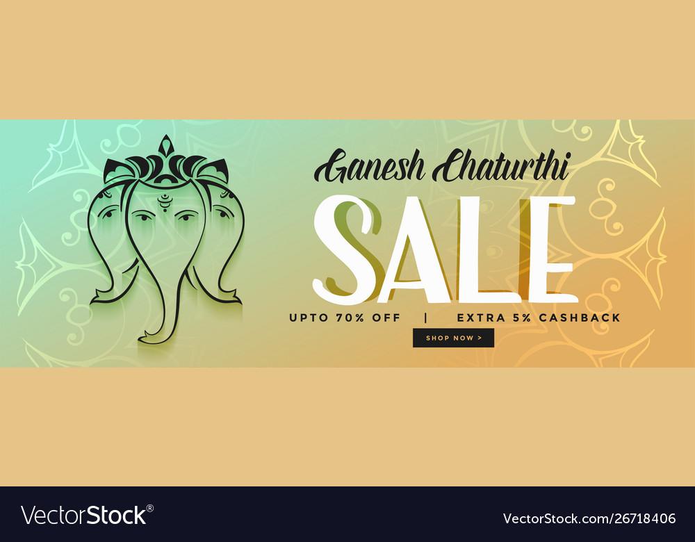 Happy ganesh chaturthi festival sale banner design