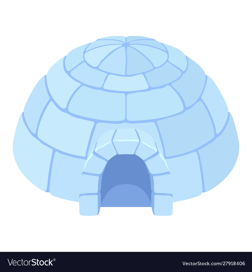 Igloo ice house icon blue snow dome