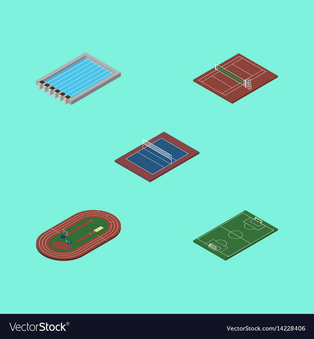 Isometric lifestyle set of basin run stadium vector image