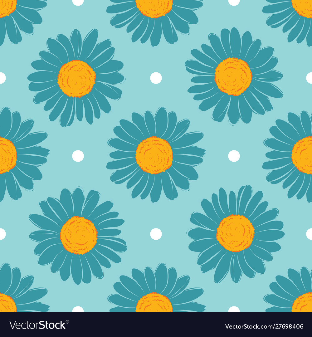 Large daisies on a blue background chamomile