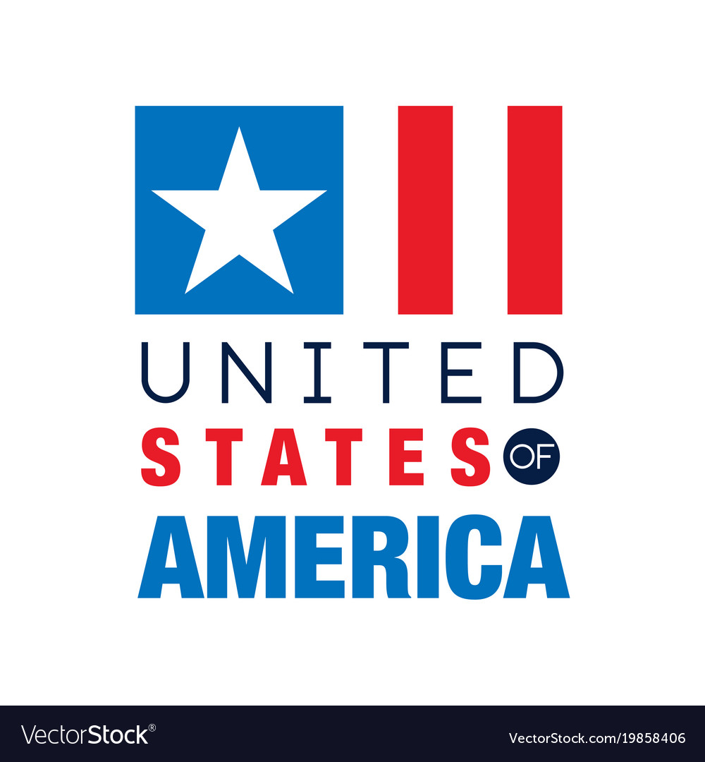 Minimalist usa logo template with abstract flag vector image