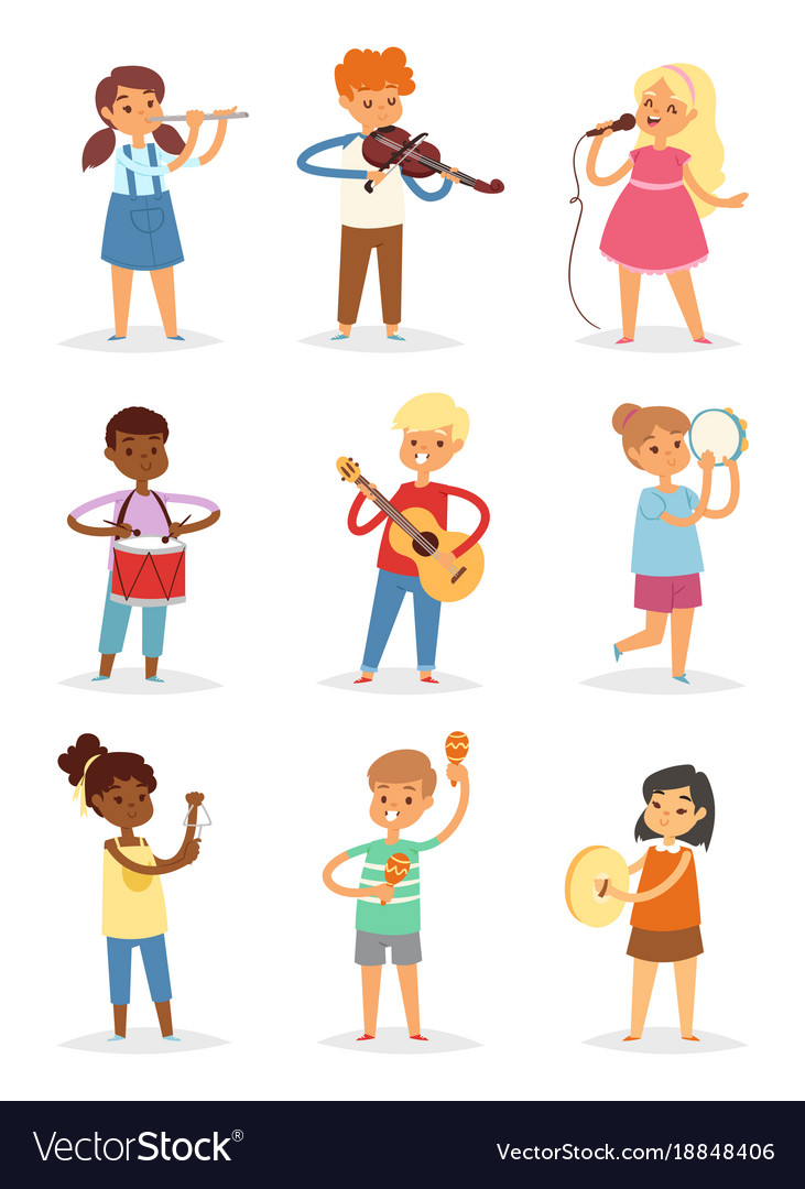 Music kids cartoon characters set of