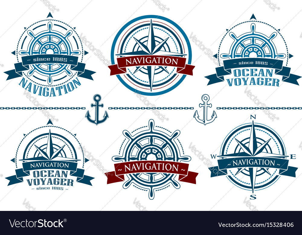 Nautical logos set