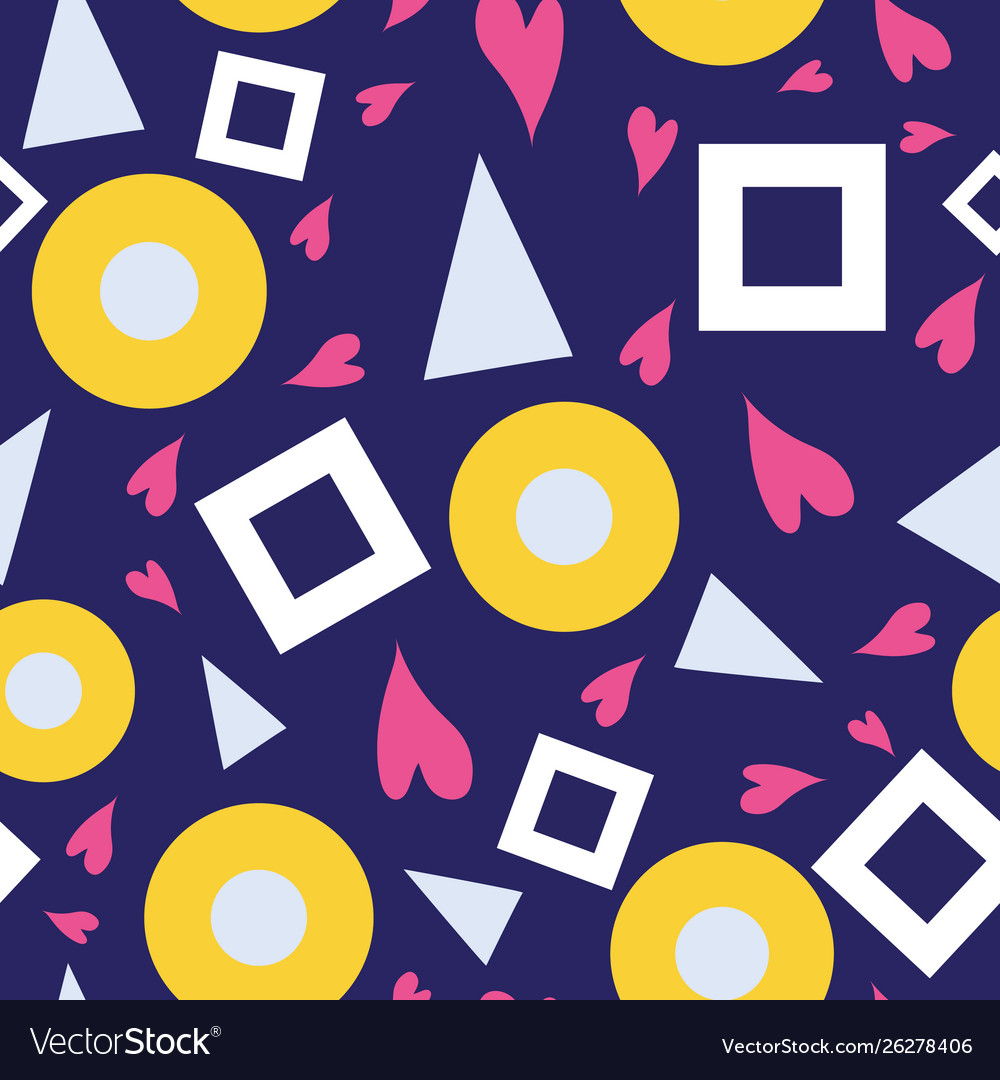 Seamless pattern bubbles hearts triangles