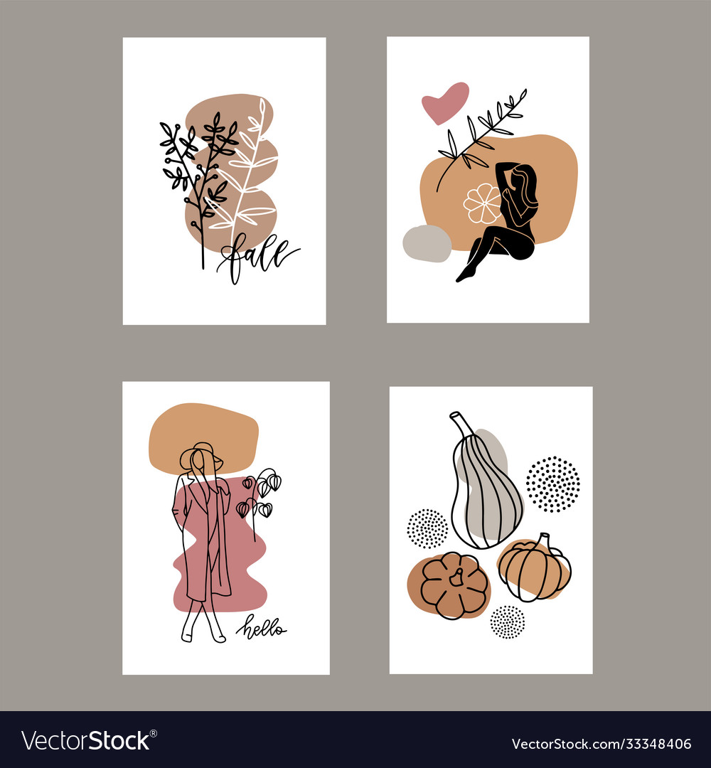 Set autumn artistic greeting cards invitations