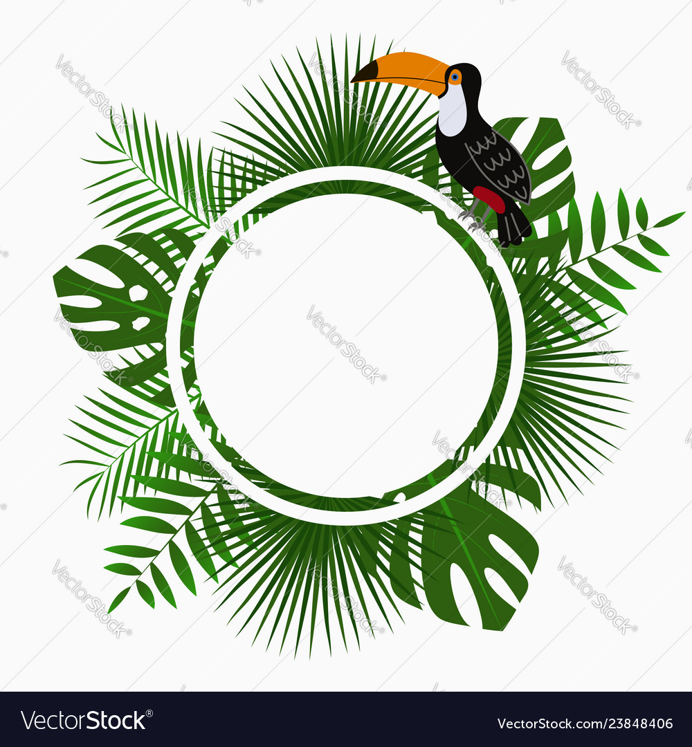Tropical poster with exotic palm leaves and toucan
