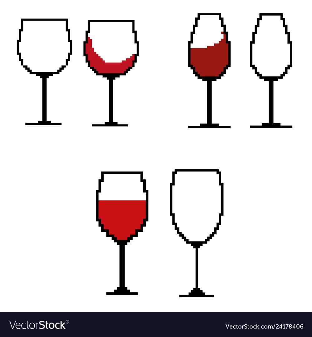 Wine glasses in the style of pixel art