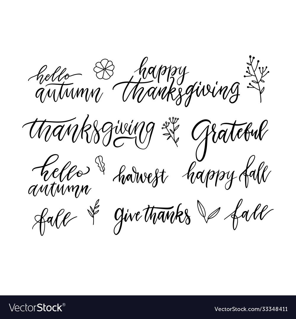 Autumn and thanksgiving hand written brush
