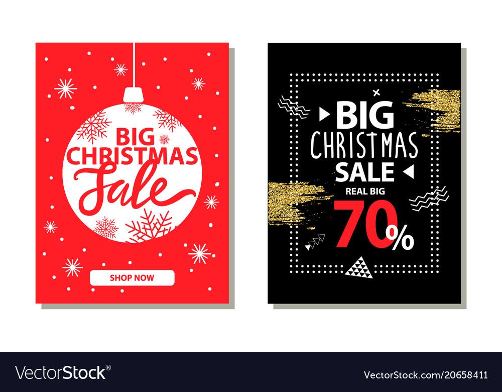 Big christmas sale banners with decorative ball