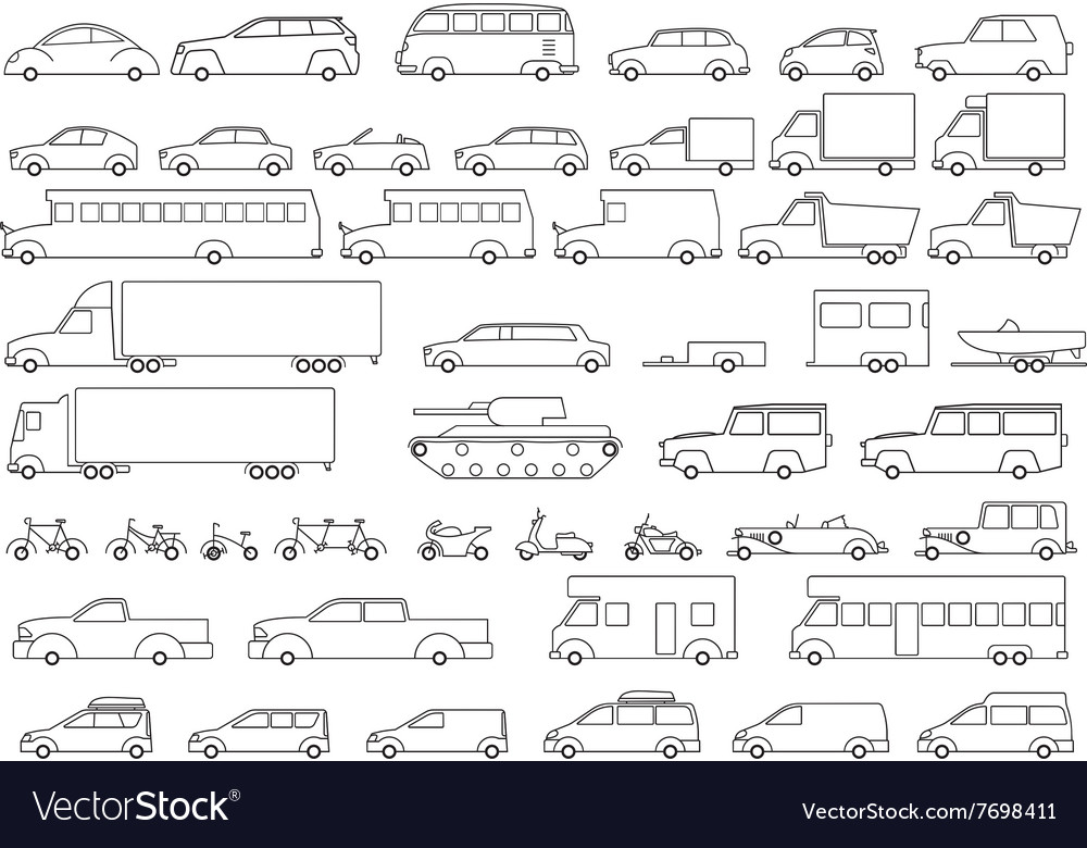 Car icons set linear style