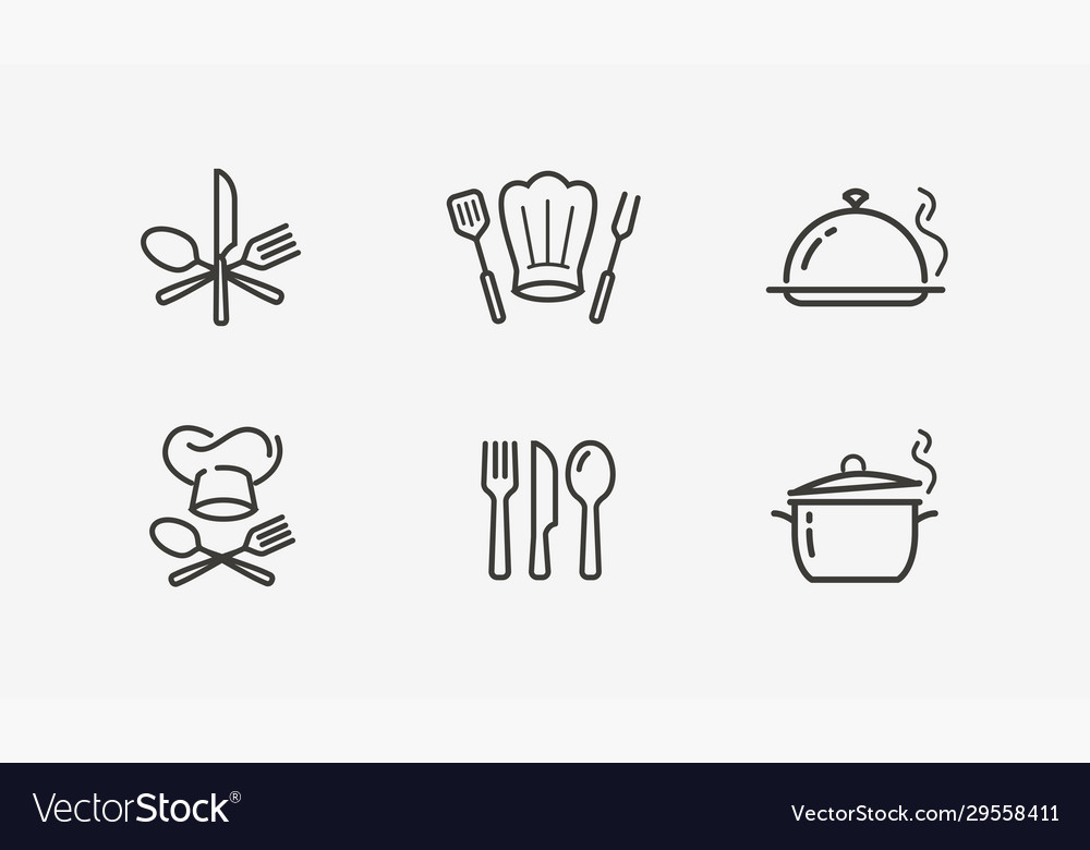 Cooking icon set culinary restaurant