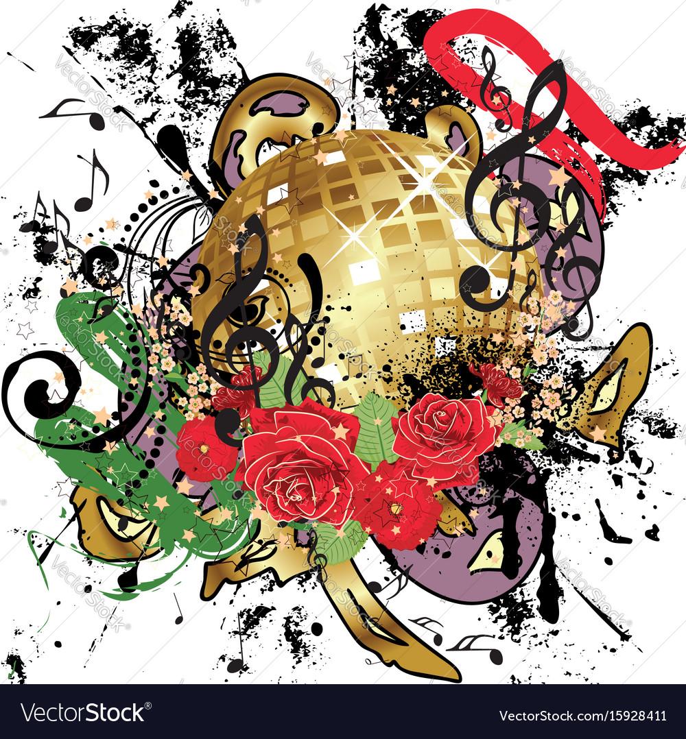 Grunge gold disco ball