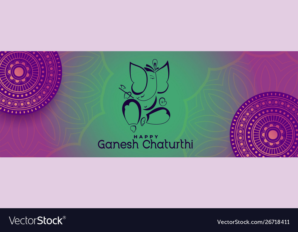 Happy ganesh chaturthi beautiful decorative