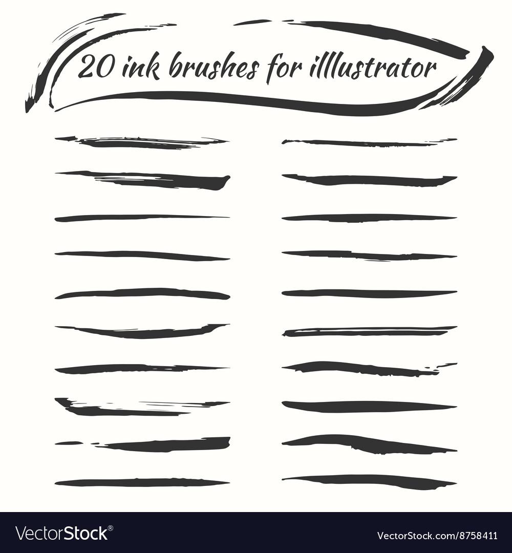 Ink brushes set Grunge brush strokes