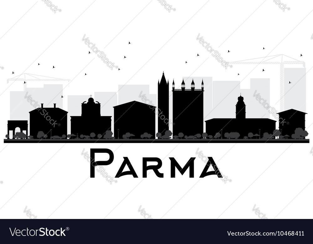Parma City skyline black and white silhouette