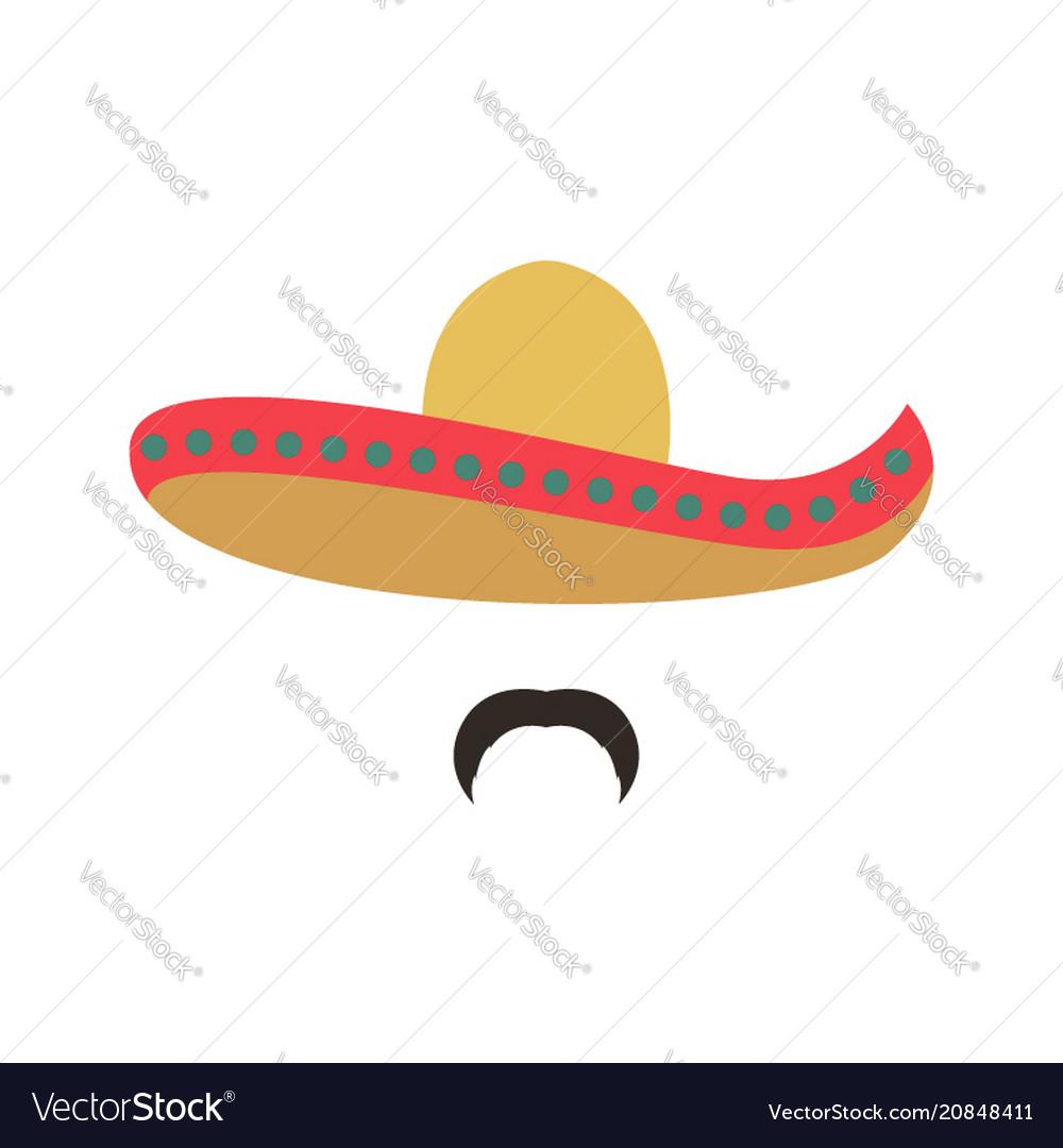 Portrait of a mexican man in sombrero man icon