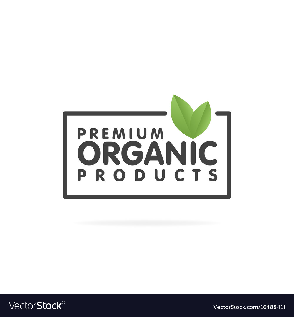 Premium organic products banner text and frame