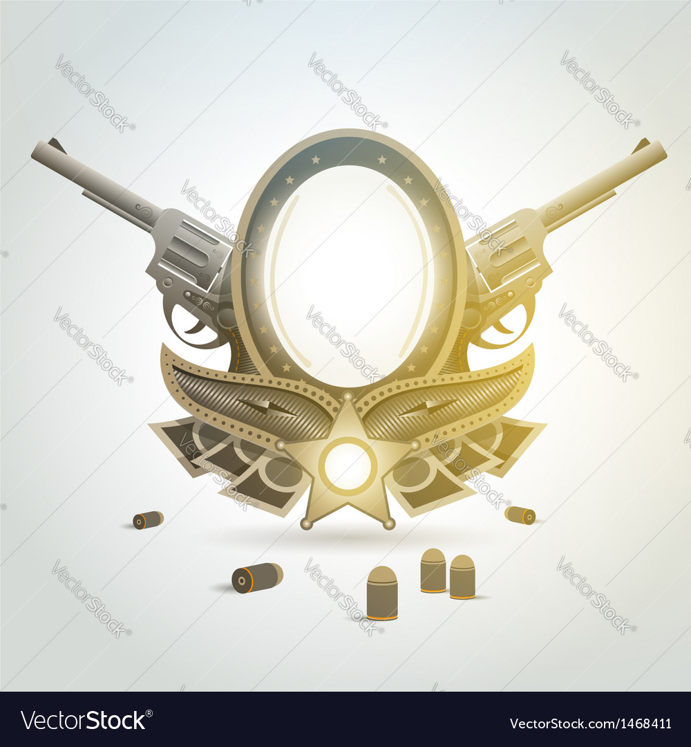 Revolver gun patron weapon sheriff element emblem vector image