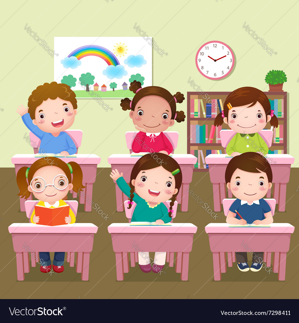 school kids studying in classroom royalty free vector image