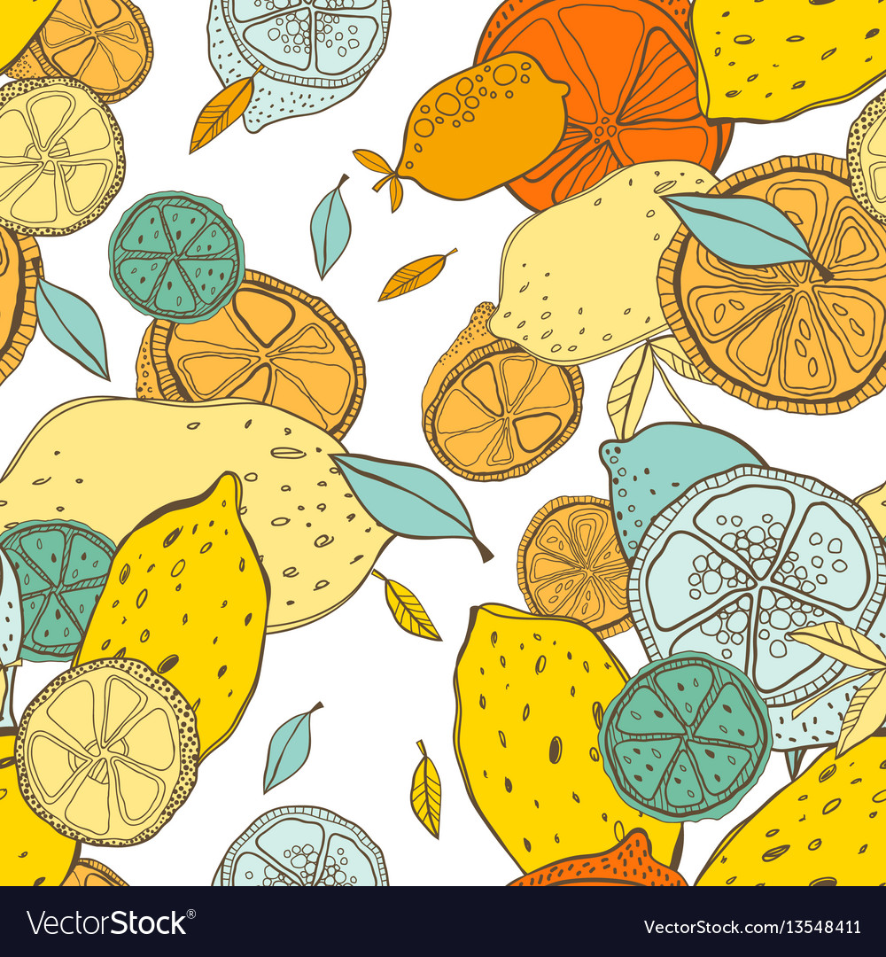 Seamless pattern with lemons with leaves