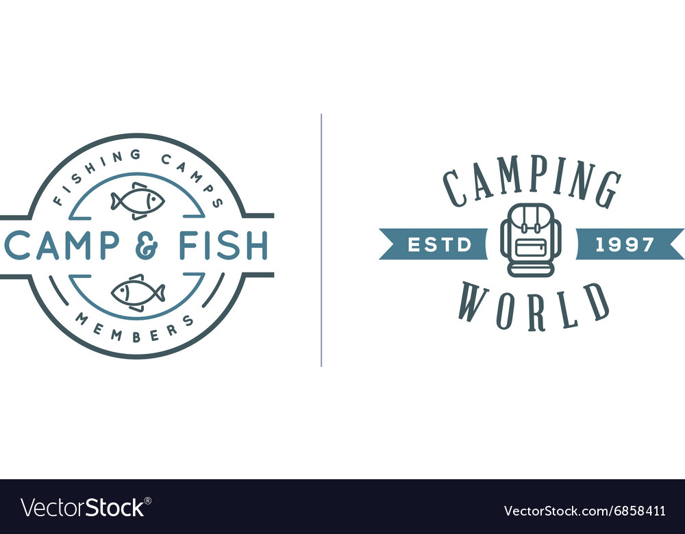 Set of Camping Camp Elements With Fictitious Names