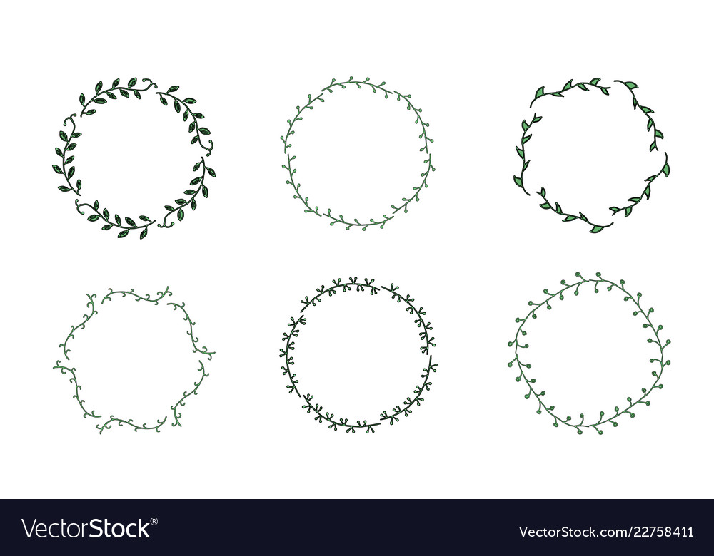 Set Of Doodle Leaves Wreath Isolated On White Vector Image