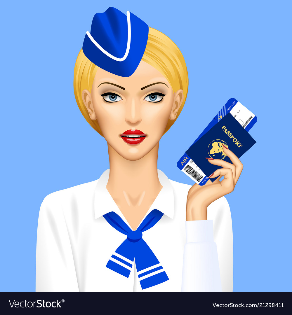 Stewardess with passport and air ticket in hand