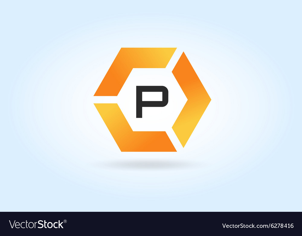 Abstract P character logo icon template