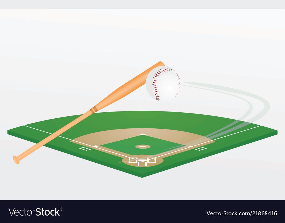 Baseball bat ball and field