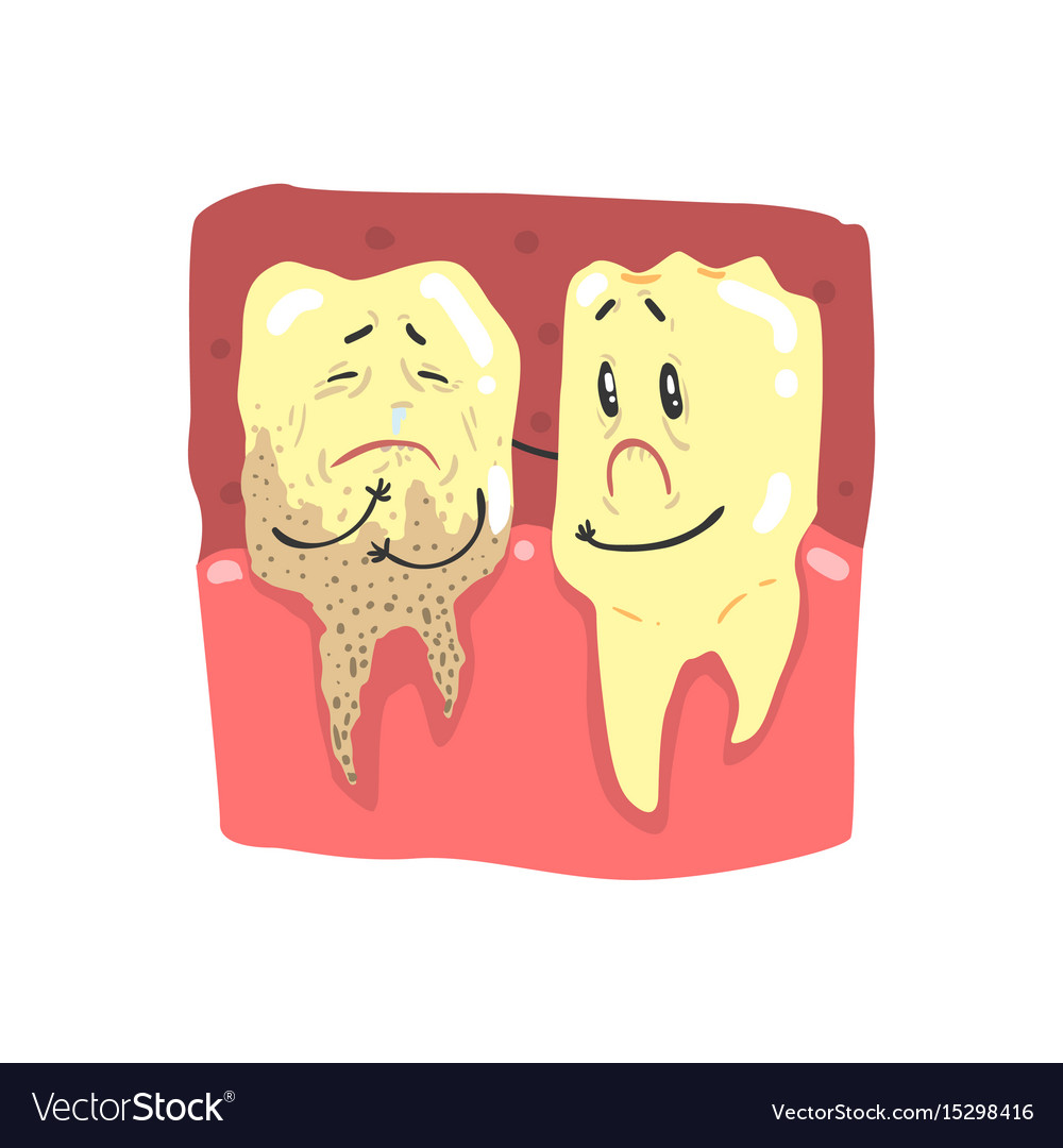 Cute Cartoon Healthy And Decayed Teeth Characters Vector Image