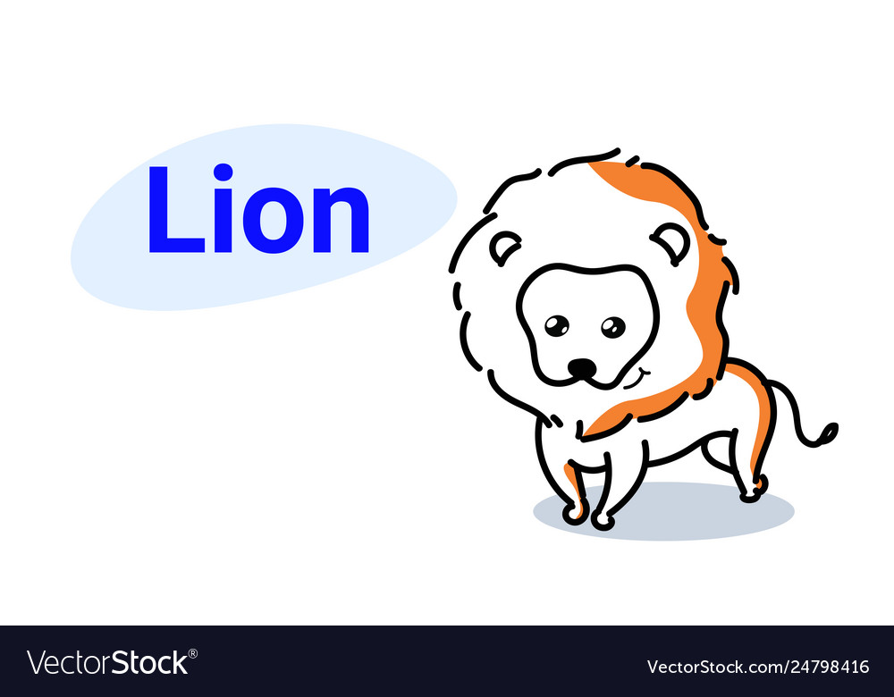 Cute lion cartoon comic character with smiling