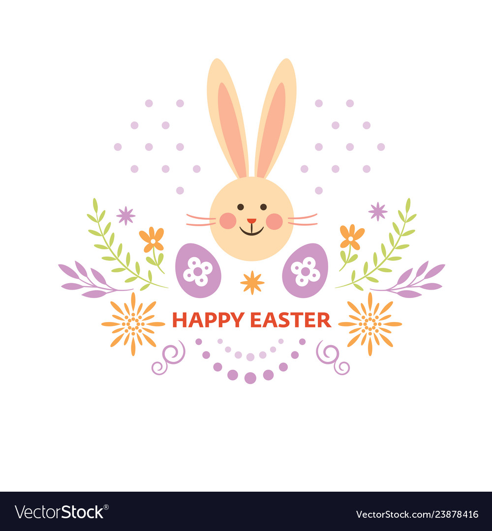 Happy easter card design cute easter bunny