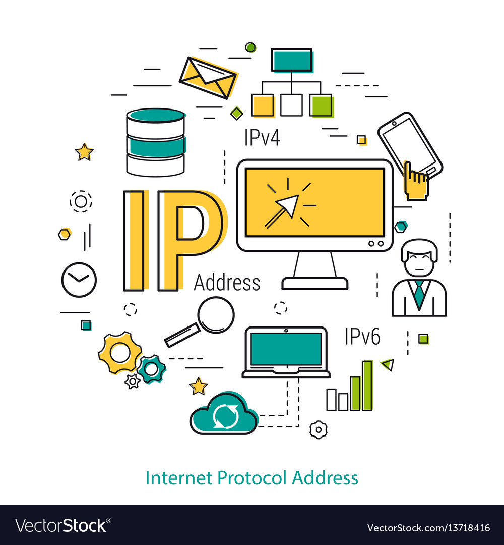 Ip address - line concept vector image