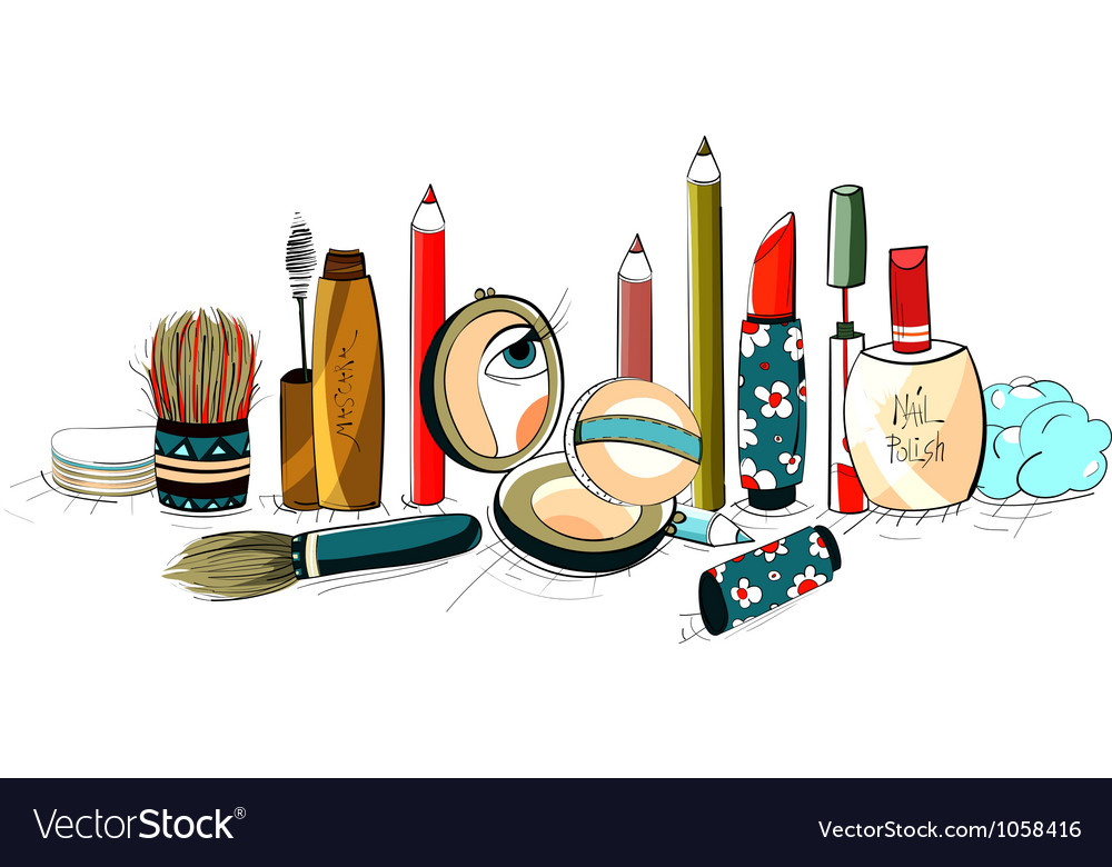 Makeup Collection Colorful Drawing vector image