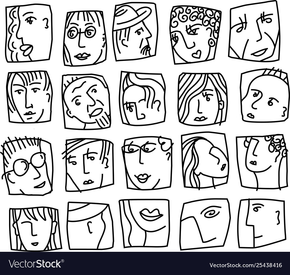 People abstract faces avatars characters black and