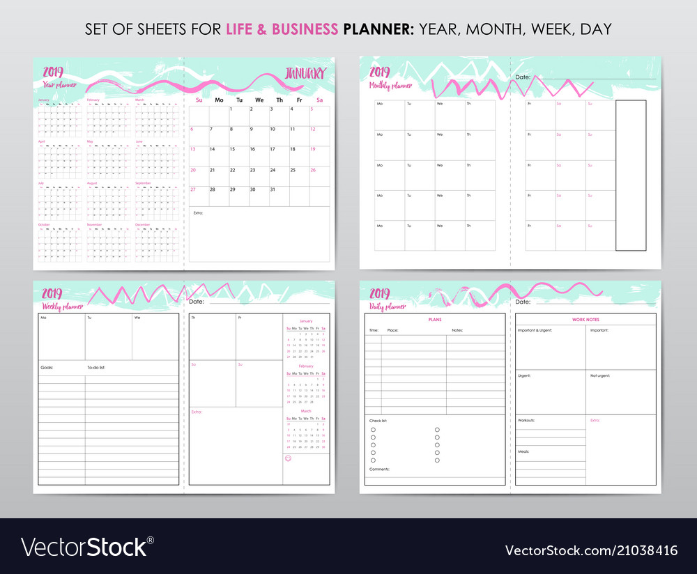 project planner template royalty free vector image