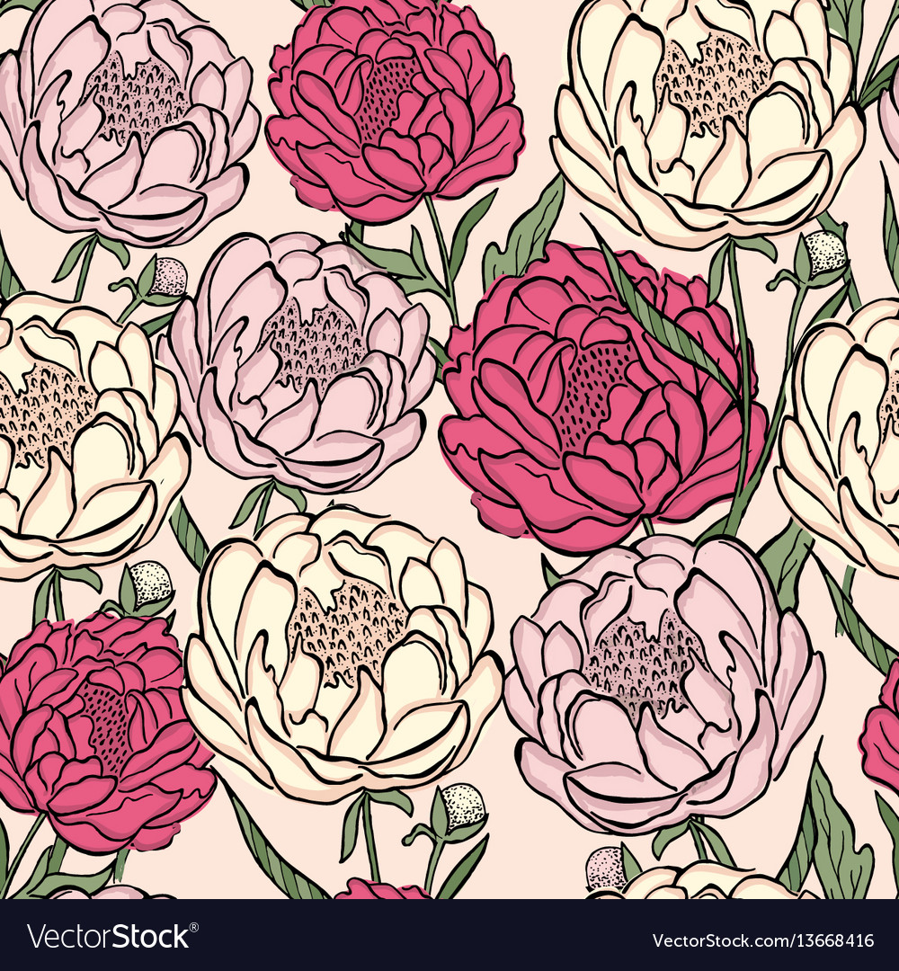 Seamless floral pattern peony flowers and