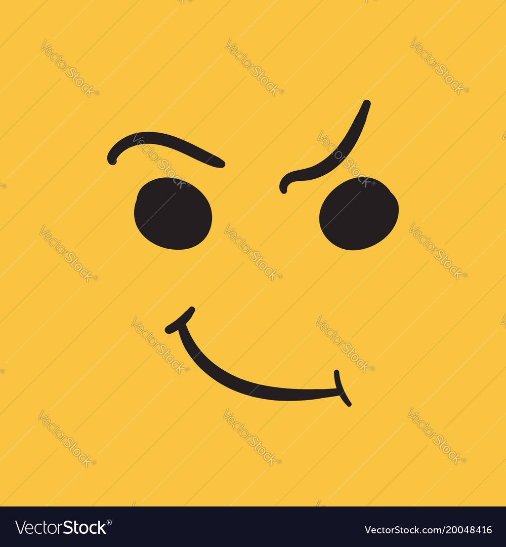 Simple smile icon hand drawn face doodle on vector image
