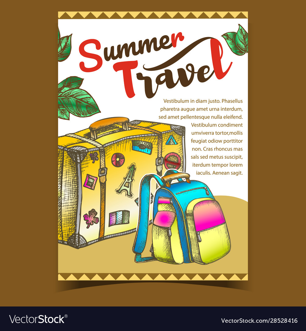Summer travel luggage on advertising banner