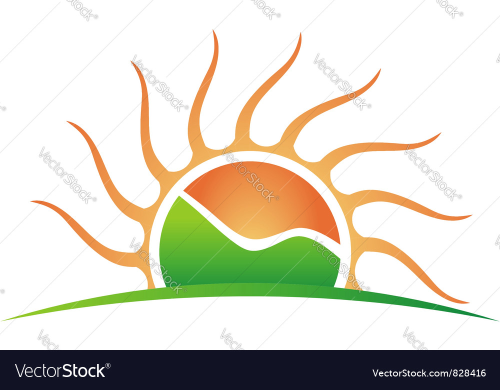Sun with green mountain vector image