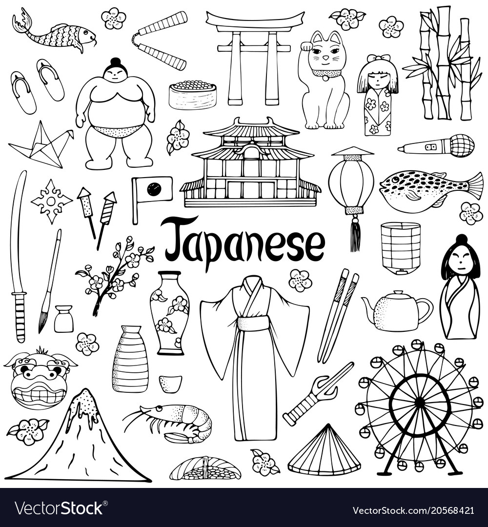 A set of hand-drawn about japan