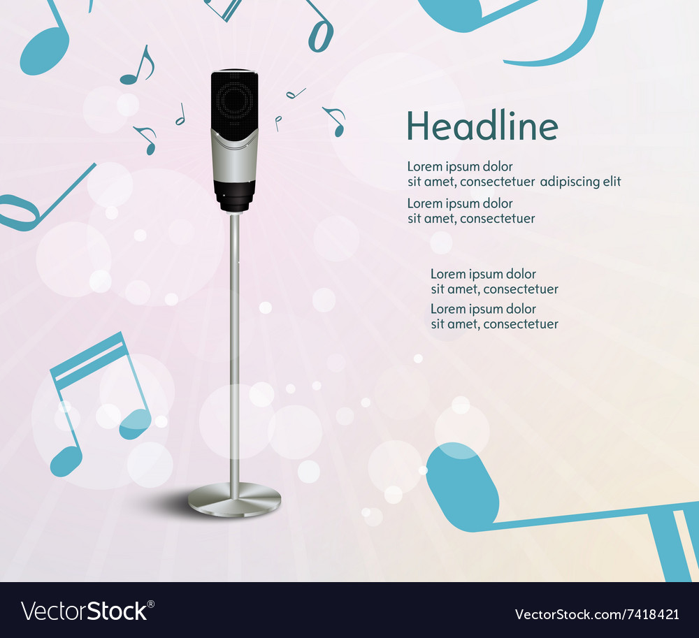Abstract sound background with microphone