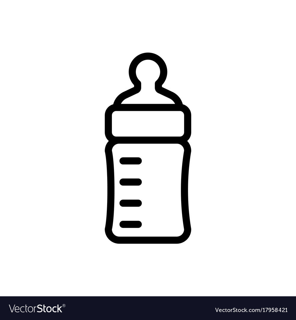 baby feeding bottle thin line icon outline symbol vector image rh vectorstock com baby bottle vector silhouette baby feeding bottle vector