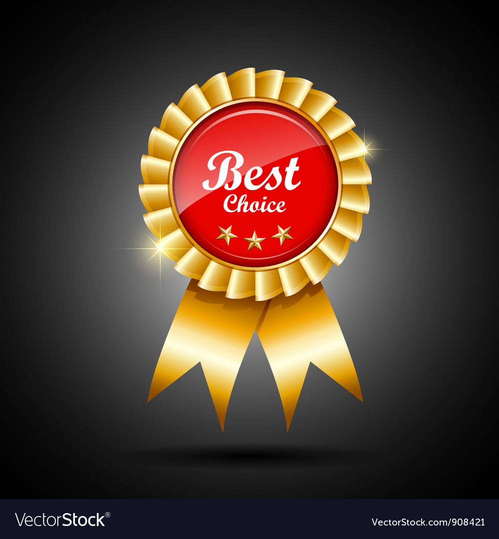 best choice red and gold ribbon award royalty free vector