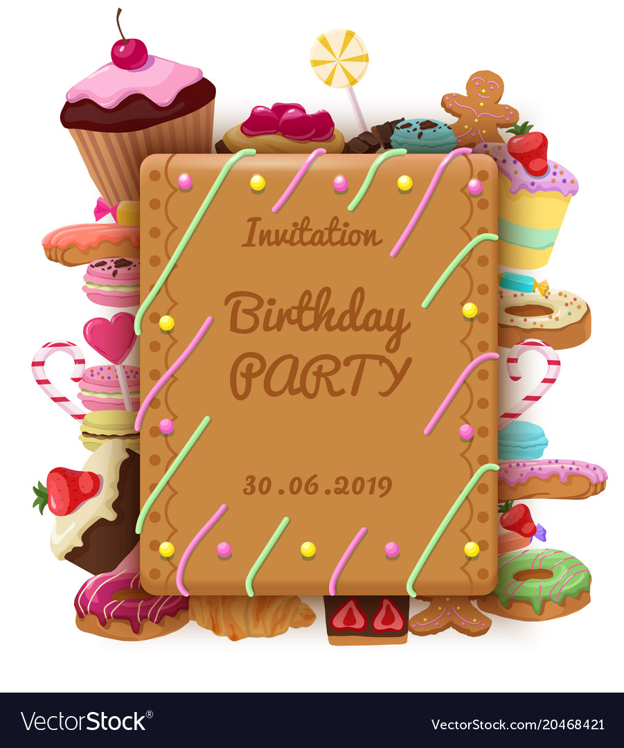 Birthday invitation template vector image