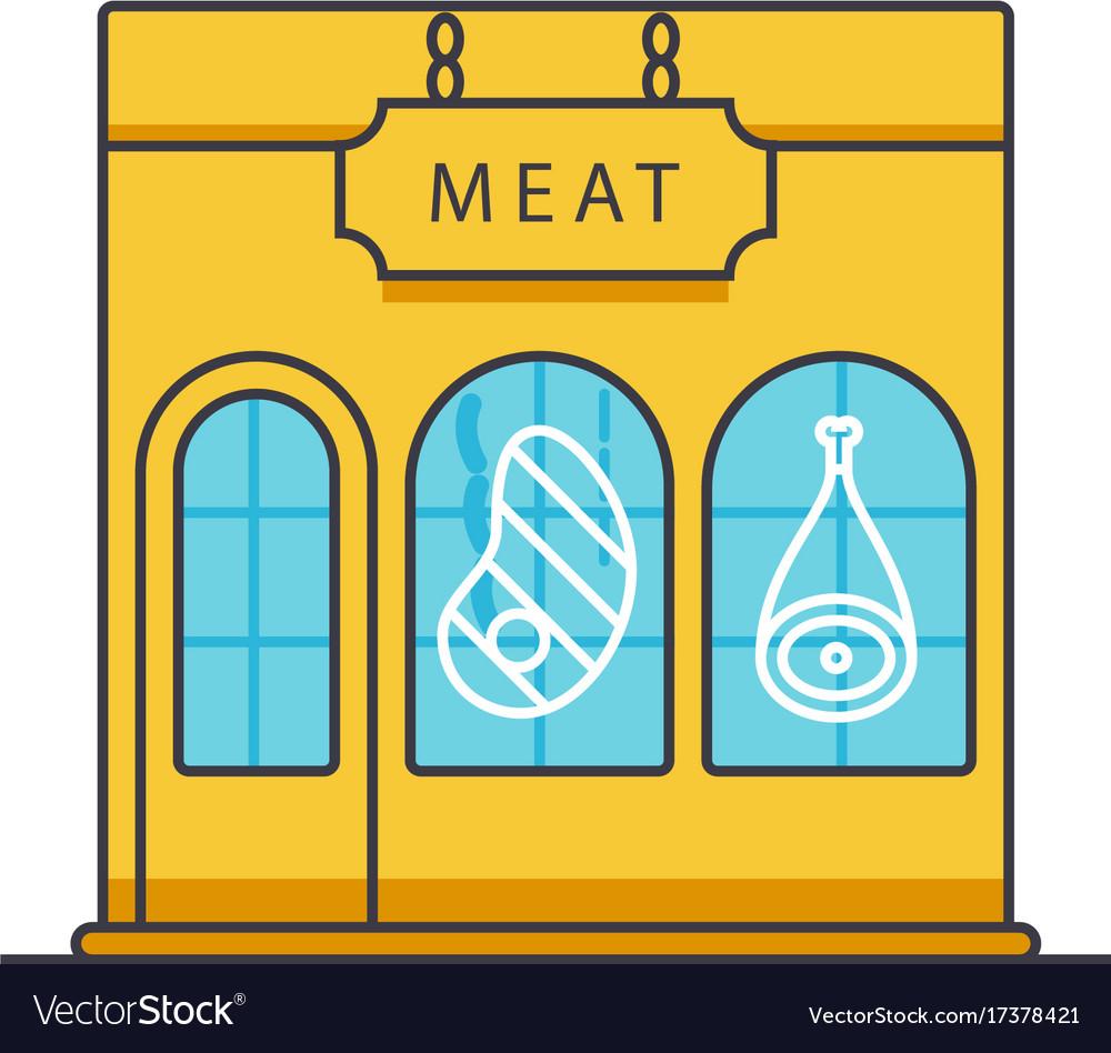 Butcher shop butchery meat business flat line vector image