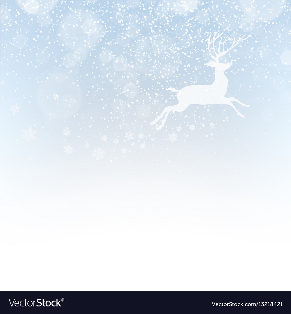 Christmas deer on snowfall background Isolated